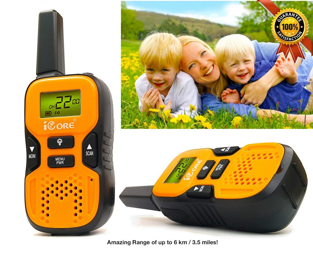 iCore Walkie Talkies for Kids, Long Range Walkie Talkie with 2 Way Radios (Pair), 22 Channel Walky Talk Rechargeable, Built-in Flash Light for Girls Boys Toys Age 6 7 Year Old Up (Orange) by iCore (Image #3)