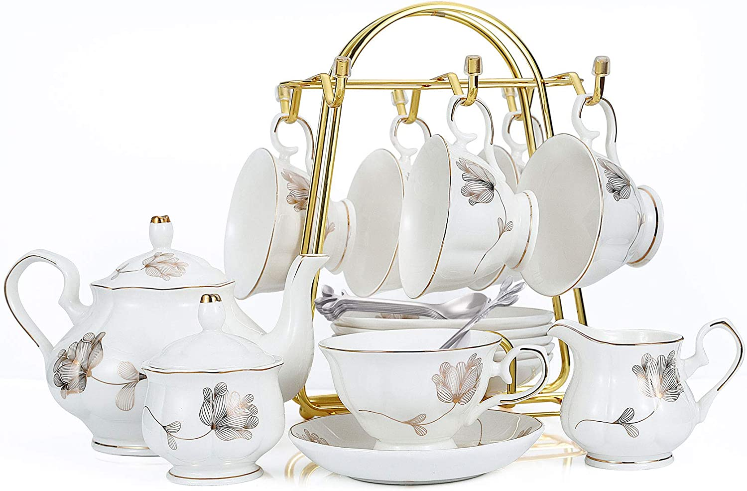 21-Piece Porcelain Ceramic Coffee Tea Gift Sets, Cups& Saucer Service for 6, Teapot, Sugar Bowl, Creamer Pitcher and 6 Teaspoons