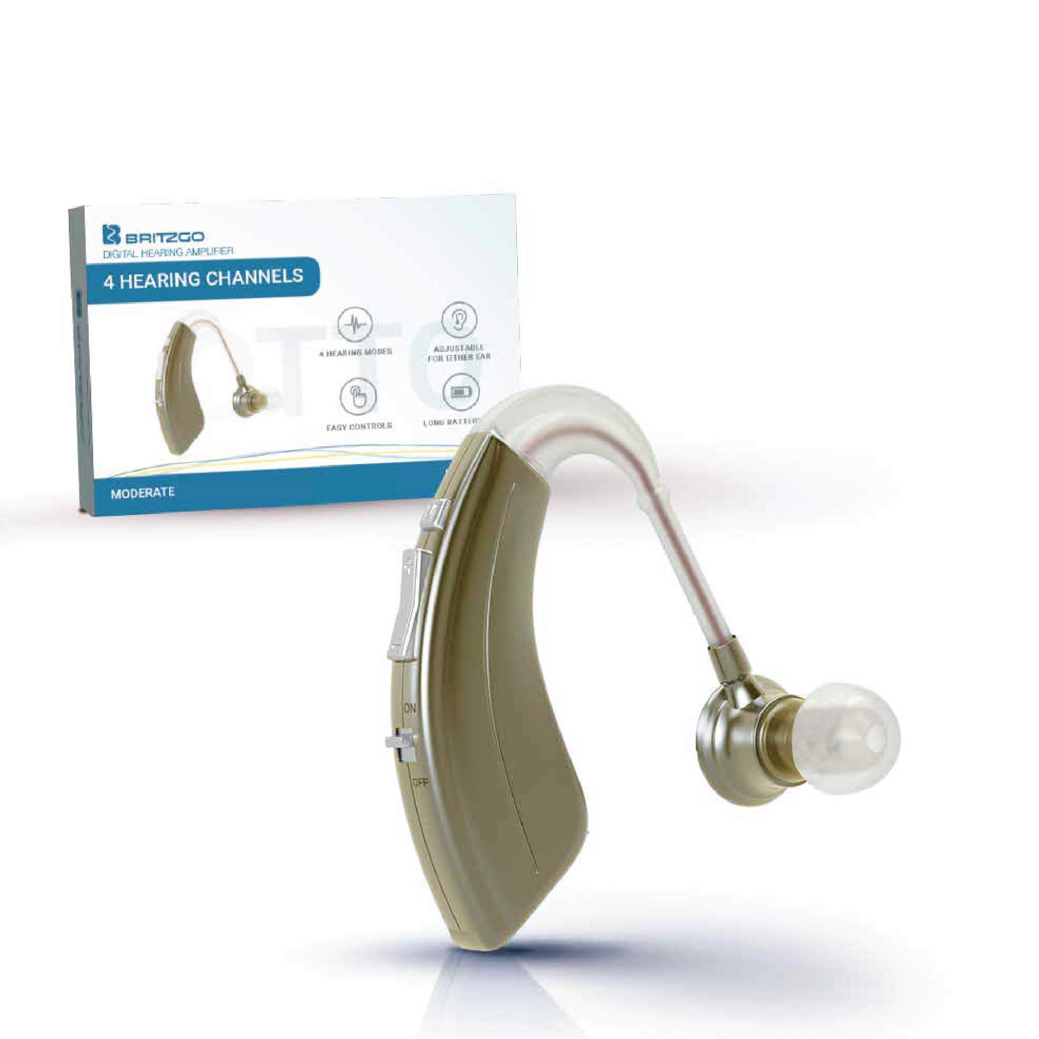 Britzgo BHA-220S Hearing Amplifier, Modern and Fashion Designed Adjustable Tube to Fit Both Ears, Silver Gray by Britzgo