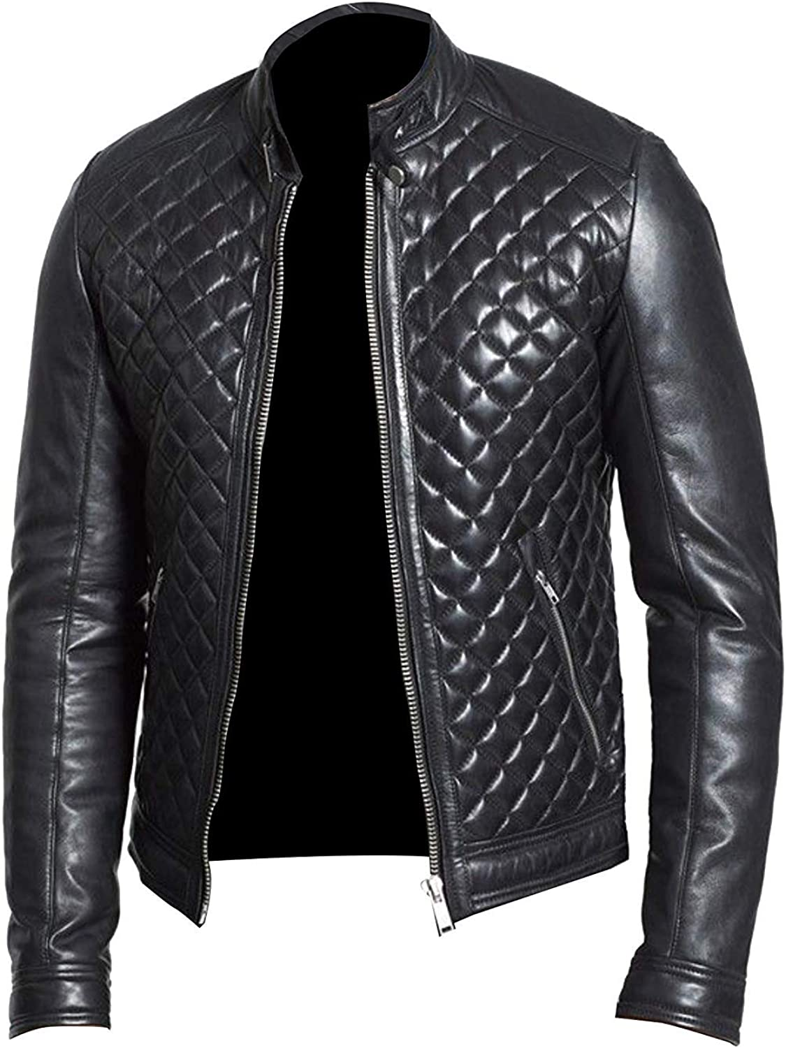 Mens Diamond Quilted Body Moto Cafe Racer Biker Black Real Sheepskin Leather Jacket