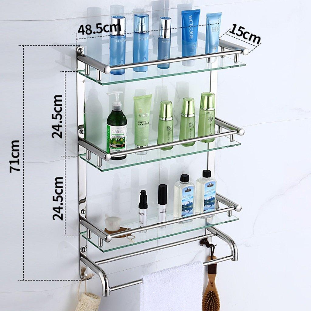 スリーレイヤーバスルームシェルフ、304ステンレス鋼+ガラスウォールマウント、タオルラックL30CM ( サイズ さいず : 60 cm 60 cm ) B077C22QYH 60 cm 60 cm 60 cm 60 cm