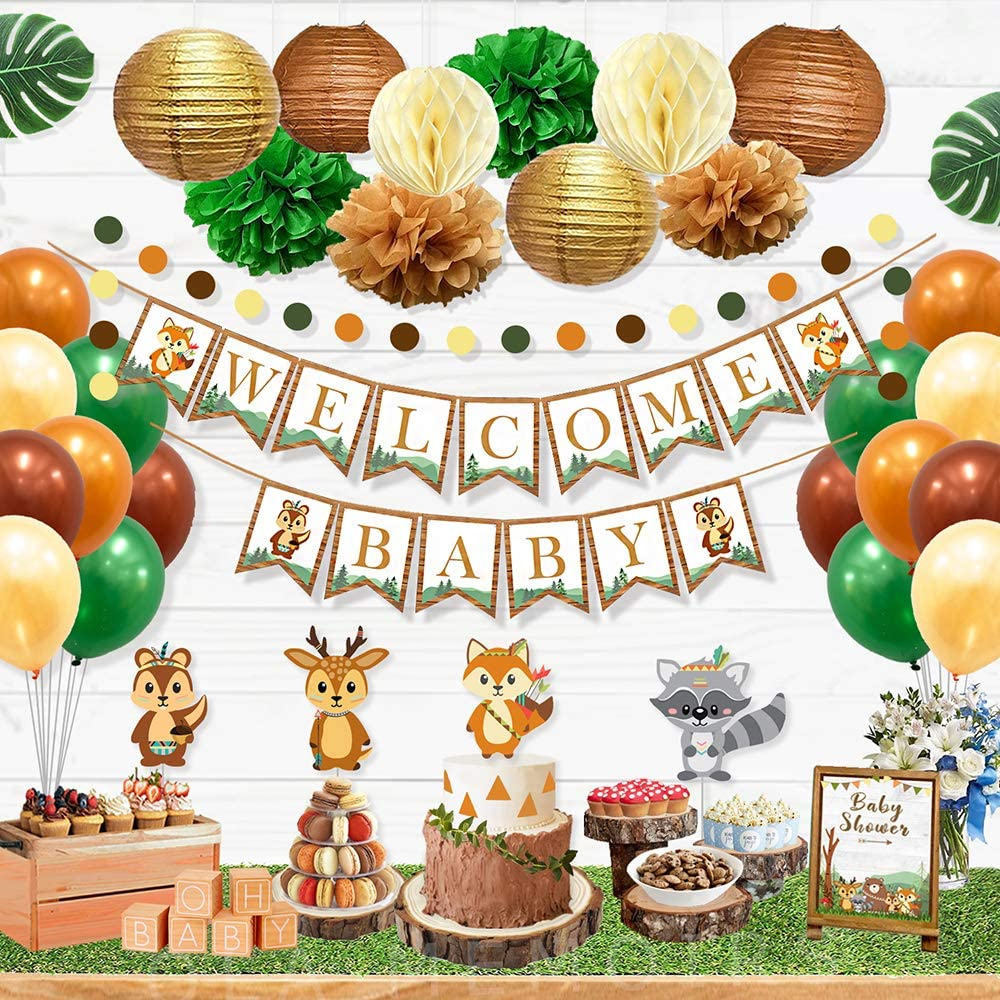 Ola Memoirs Woodland Animals Baby Shower Decorations for Boy or Girl, Gender Neutral Party Supplies Kit- Welcome Baby Banner, Forest Creatures Cut Out, Woodland Balloons, Pompoms, Leaves, Lanterns