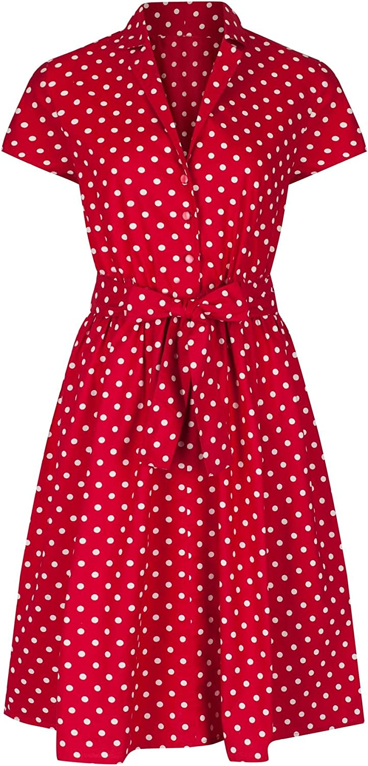 1940s Dress Styles 1940s Retro Vintage Style Red Polka Dot Belted A-Line Cotton Shirt Dress £28.99 AT vintagedancer.com