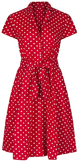 4e4479f74a7 Womens 1940's Retro Vintage Style Red Polka Dot Belted A-Line Cotton Shirt  Dress
