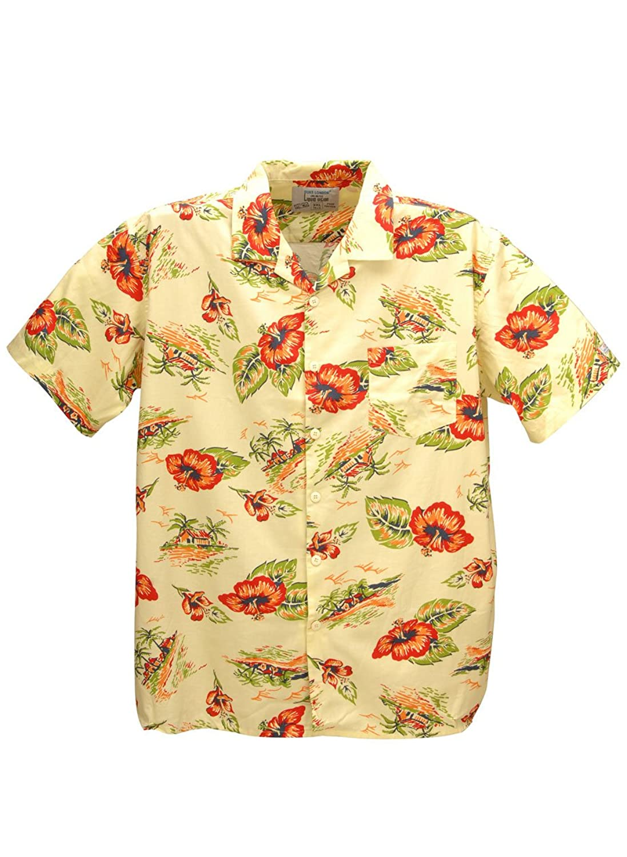 Mens Duke Hawaiian Short Sleeve Shirt 3XL,4XL, 5XL, 6XL, 7XL, 8XL Cotton Blue