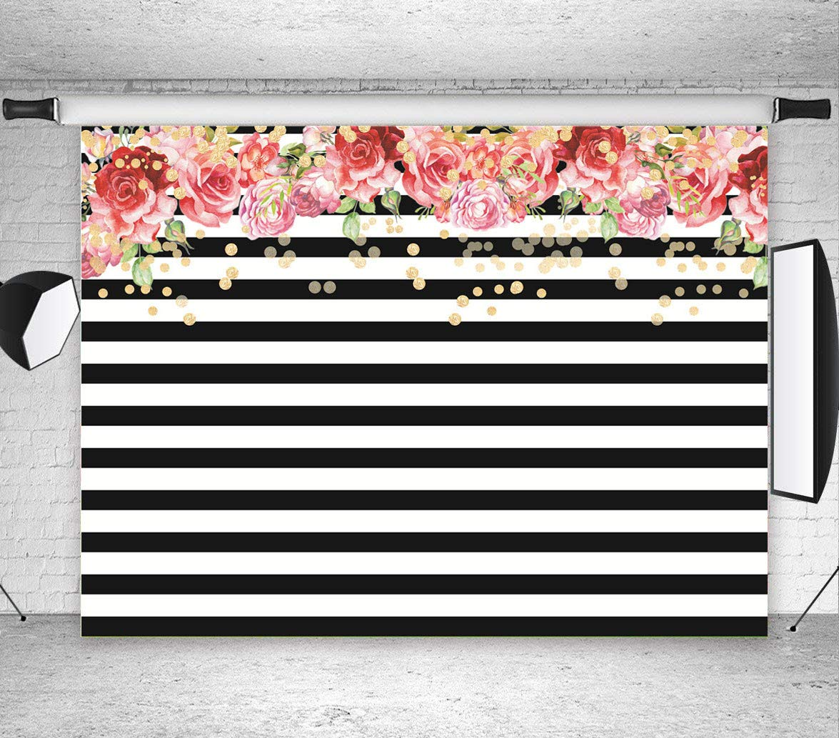 Qian Rose Flower White and Black Stripe Backdrops for Photography Weeding Party Decoration Photo Studio Props Booth Vinyl Background 7x5ft
