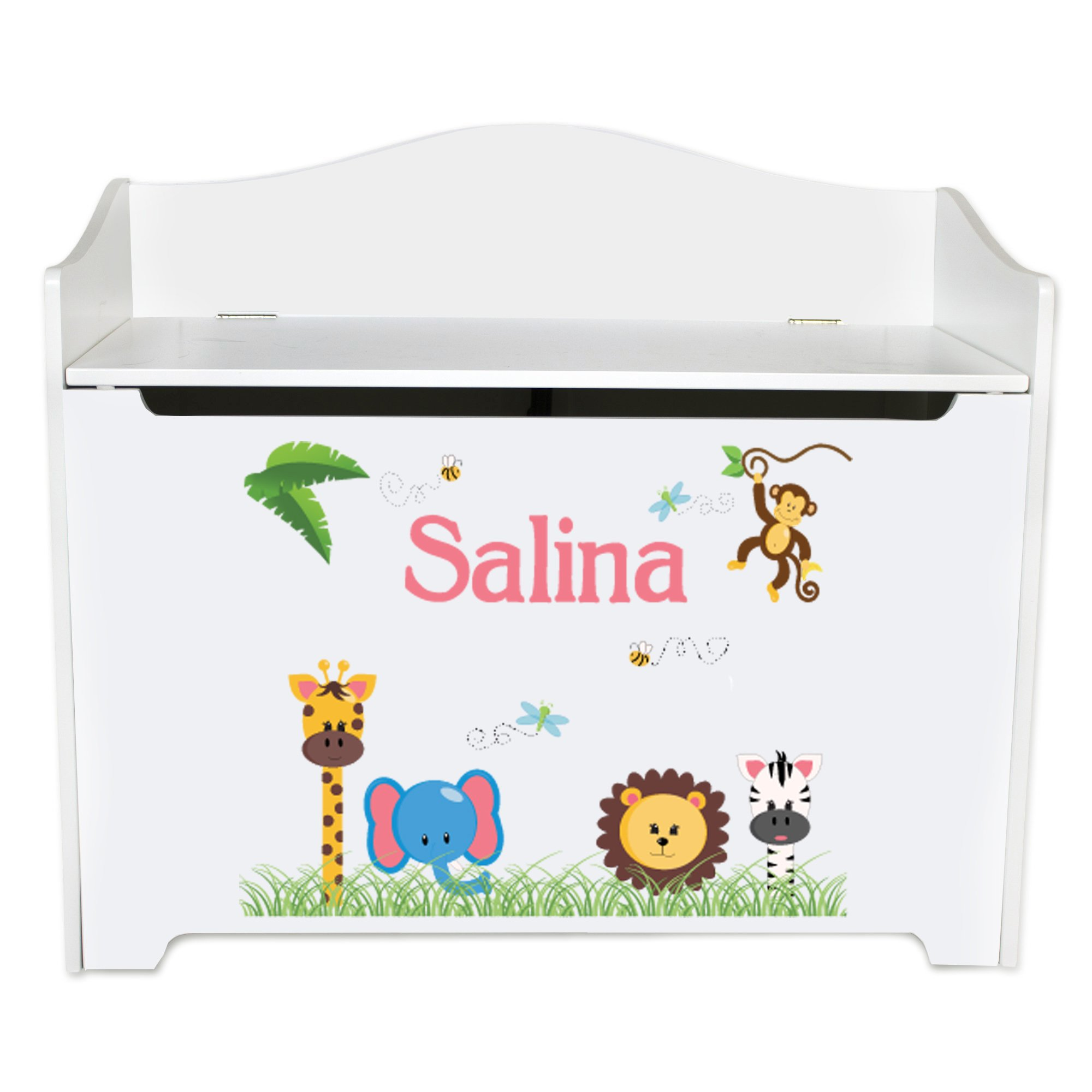 Personalized Jungle Animals Girl White Book Caddy and Rack