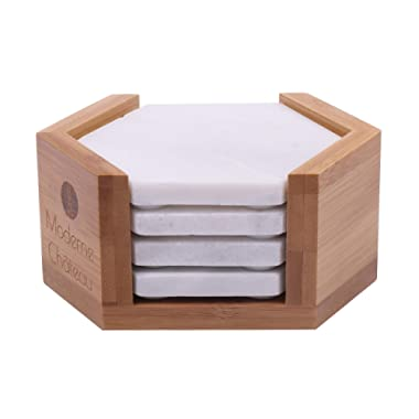 Moderne Chateau Hexagon White Marble Coasters with Bamboo Holder