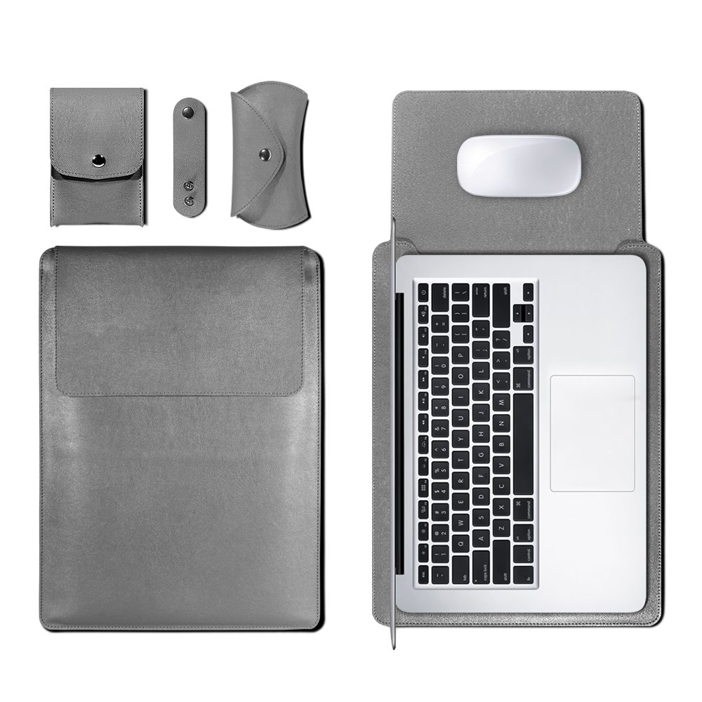 GOLP 13 Inch Laptop Sleeve, Leather Case Bag, Universal Lightweight 4 in 1 Bundle Waterproof and Felt Hybrid Protective Carrying Cover for Apple MacBook Air & Pro 13.3 Tablet with Mouse Pad - Grey