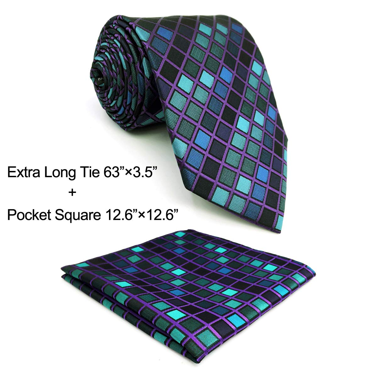 Shlax&Wing New Design Blue Checkers Mens Ties Neckties Set Business Suit Set Shlax & Wing D10-H