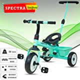 BAYBEE Spectra Plug and Play Kid's Tricycle with Parental Adjust Push Handle (Lake Blue, 1-5 Years)