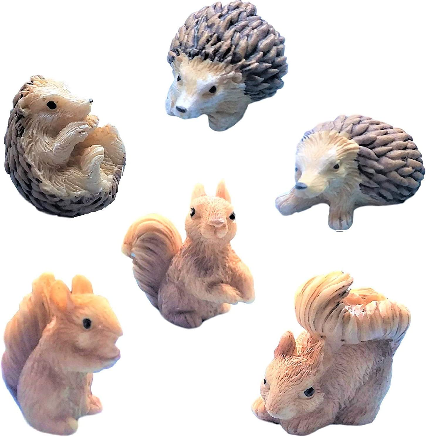 """Miniature Fairy Garden Realistic Tiny 1.25"""" Hedgehogs and 1.2"""" x 1"""" x 0.70"""" Squirrels - Made of Resin - for Outdoor or House Decor - Bundle of 6 Mini Garden Animals - Farm Woodland Creatures"""