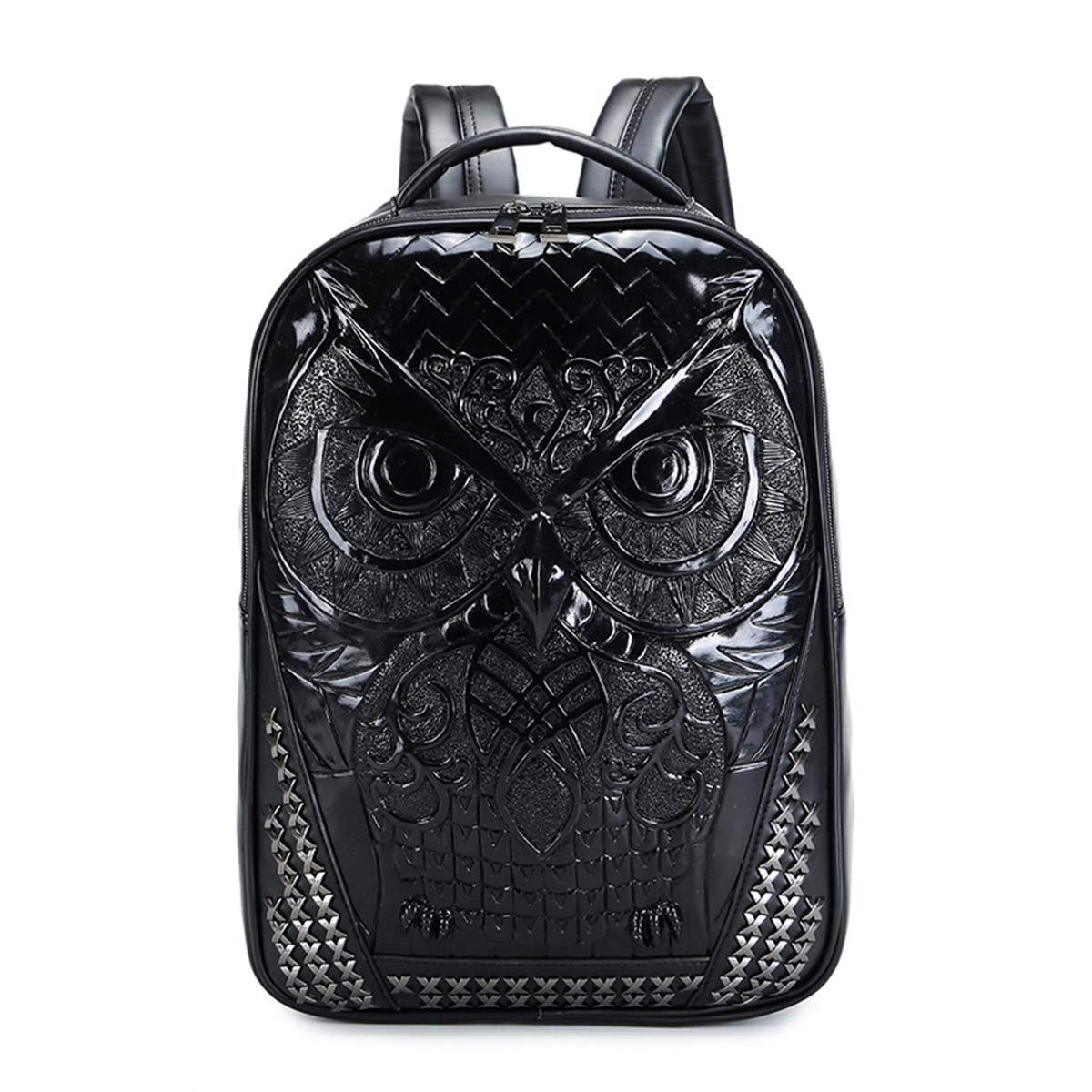 Black CHUO YUE PU Leather Men Backpack Unique Travel 3D Backpack Punk Rivet Owl Printing Motorcycle Ride Waterproof 15.6 Inch Men Laptop,Black