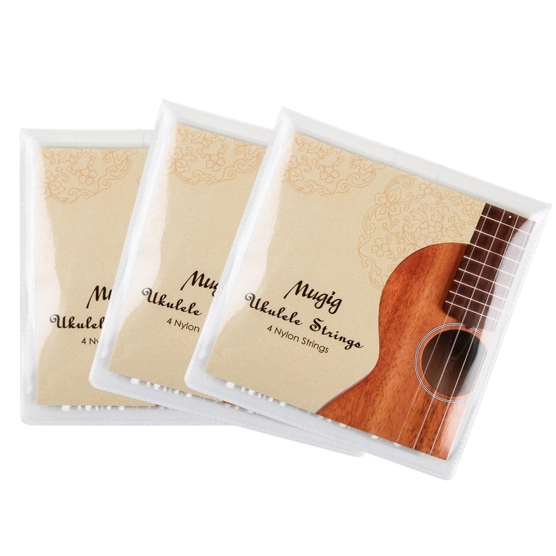 Mugig Ukulele Strings in Nylon for Sprano Concert Ukulele Package of 3 sets