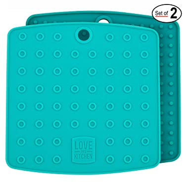 Premium Silicone Trivet Mats/Hot Pads, Pot Holders, Spoon Rest, Jar Opener & Coasters - Our 5 in 1 Kitchen Tool is Heat Resistant to 442 °F, Thick & Flexible (7  x 7 , Teal, 1 Pair)