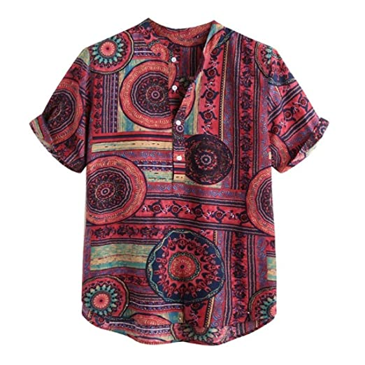 XC Camisas Hawaianas Camisas de Lino Hombres Botones de Pecho ...