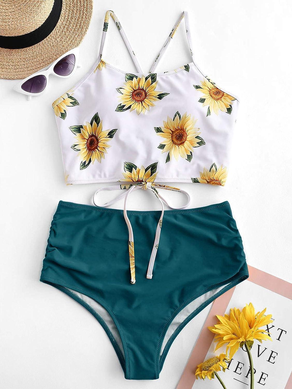 ZAFUL Womens Tankini Set Adjustable Sunflower Criss Cross Straps Bikini Ruched High Waisted Bathing Suit