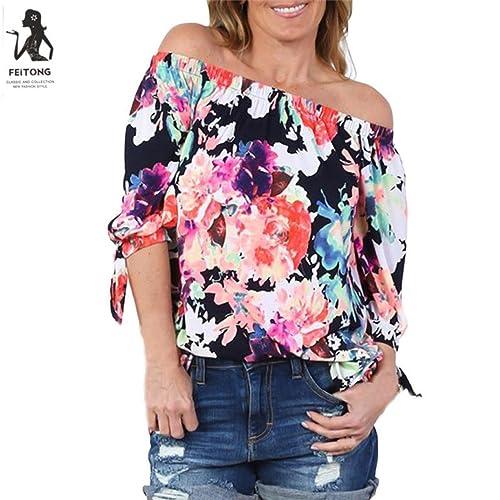 Mujeres blusa camiseta OverDose manera 2017 camiseta de manga larga con estampado de flores