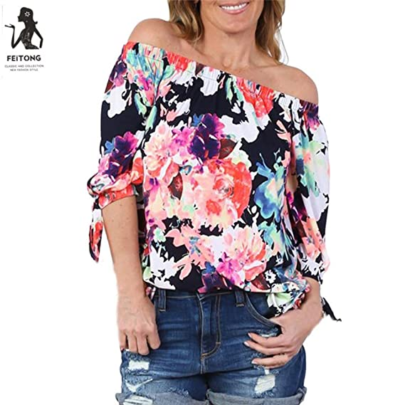 Mujeres blusa camiseta OverDose manera 2017 camiseta de manga larga con estampado de flores: Amazon.es: Ropa y accesorios