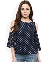 Amayra Navy Blue printed cold shoulder long sleeves polka dotes top for women western wear