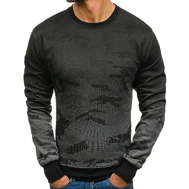 790f4963 Robemon Men's T-Shirt Fashion Camouflage O-Neck Slim Fit Long Sleeve: Amazon .co.uk: Clothing