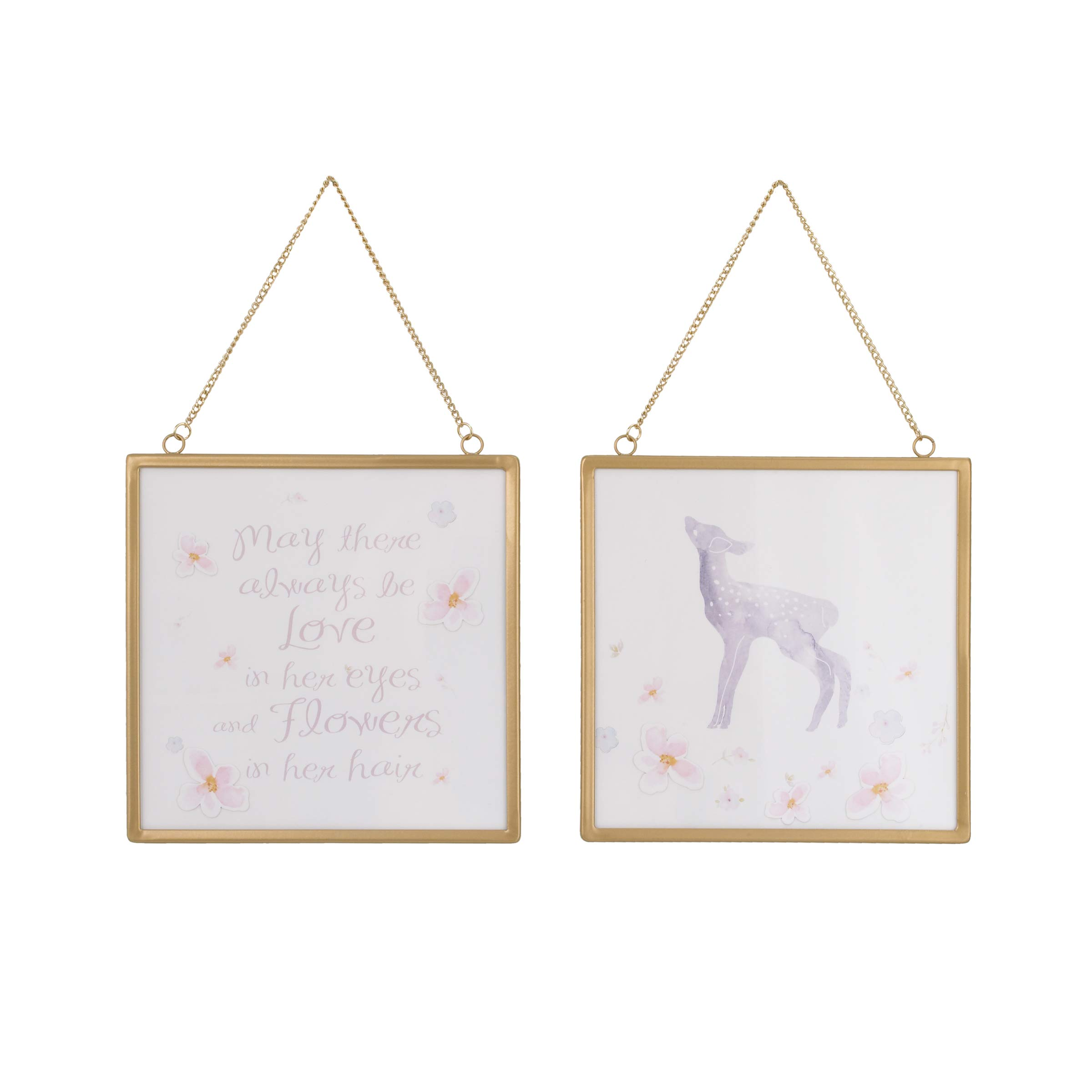 NoJo Watercolor Deer 2 Piece Framed Nursery Wall Art with Deer, Flowers & Positive Message, Gold Pink/Grey/White, 8'' x 8''
