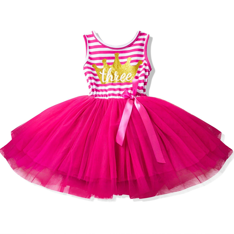 NNJXD Girl Shinny Stripe Baby Girl Sleeveless Printed Tutu Birthday Dress Size (100) 2-3 Years Gold&Rose