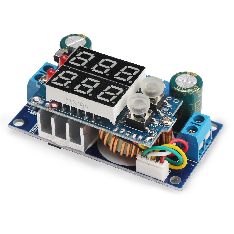 5A Buck Converter, DROK Voltage Regulator Board DC 6-36V Down to 1.25-32V 5A Constant Current Voltage MPPT Solar Controller Module 24v to 12v 5v with LED Display for Charging Battery Car Power Supply by DROK (Image #1)