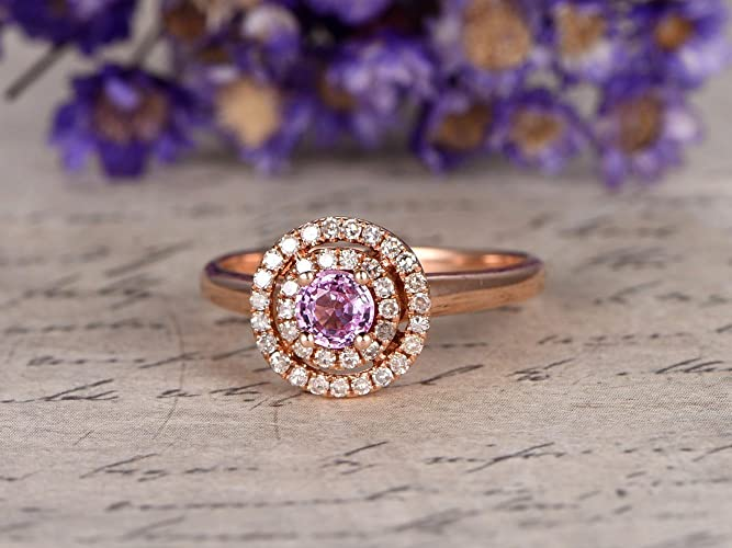 3c13f6f53 Natural Genuine 3.5mm Round Cut Pink Sapphire Engagement Ring Solid 14k  Rose Gold Double Diamond Halo Plain Gold Wedding Band Bridal Ring  Anniversary Gift ...