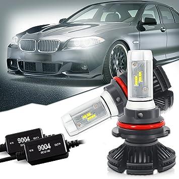QUAKEWORLD QW 2PC 9004 HB1 Bombilla PHI-Zes LED Faro de luz 12000LM 50W Headlight con decodificador Kit: Amazon.es: Coche y moto