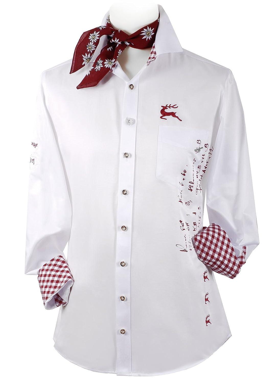 Top-Quality - Trachtenhemd Herren Langarm/SLIMFIT - mit Hirsch - Komfort in Baumwolle - Weiß/Rot