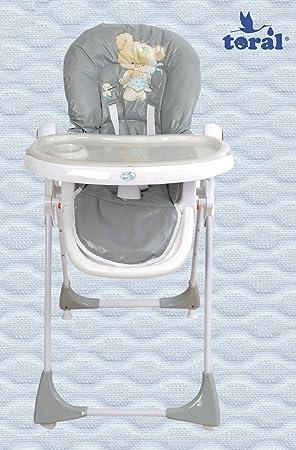 Trona para bebe plegable,bandeja extraible,modelo osito gris silla beb/é.DE REGALO BIBERON