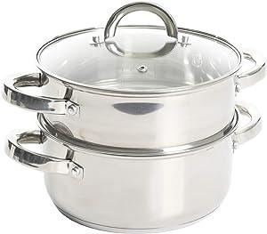 Oster Sangerfield Stainless Steel Cookware, 3.0-Quart Casserole Set w/Steamer Basket