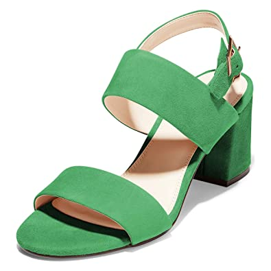4ce42adc14a1d YDN Women Open Toe Chunky Block Mid Heels Ankle Strap Suede Dress Sandals  Buckled Summer Shoes