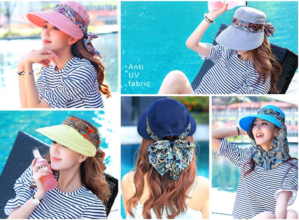 Womens Travel Floppy Hat Wide Brim Sun Visor Hat with Flap Camping Fishing Cycling Gardening Sun Hat All-around Sun Protection with Detachable Neck Protector Scarf UPF 50 Anti-UV Summer Beach Hat