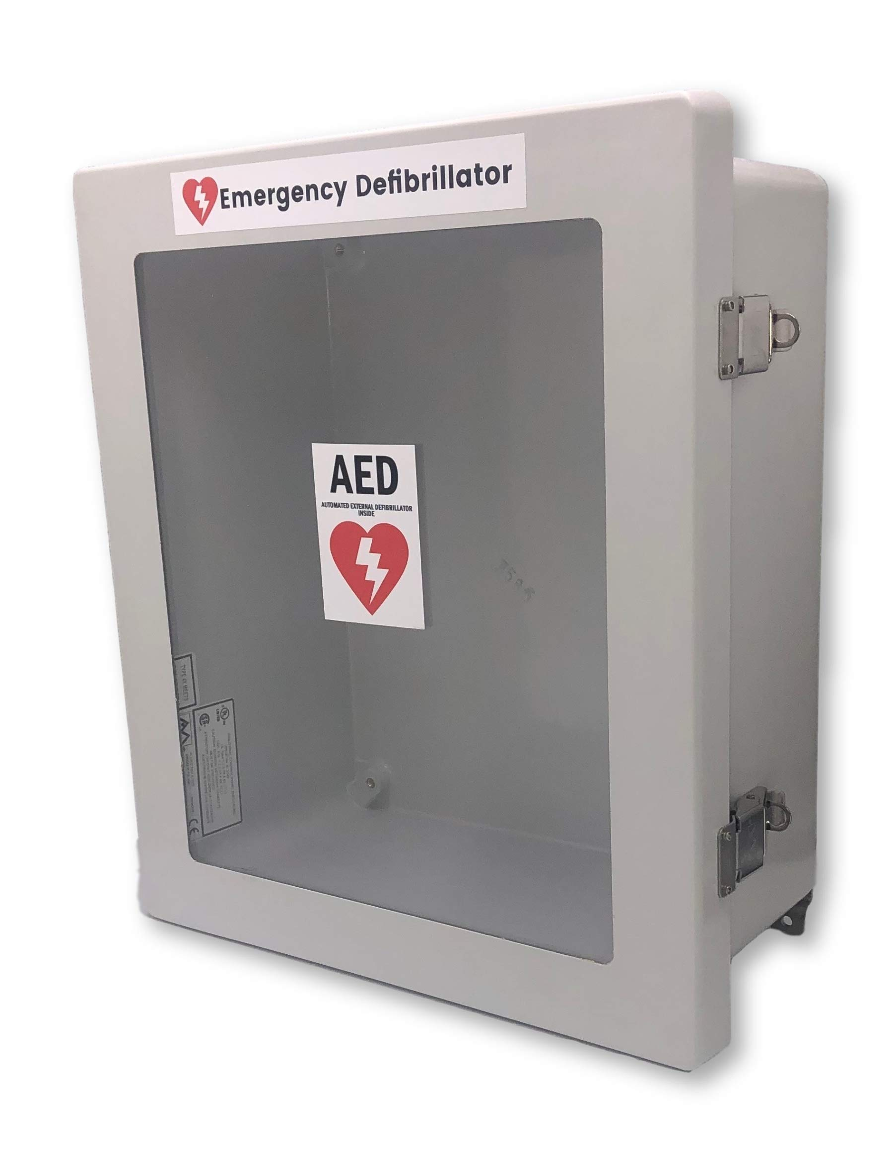 Defibrillator AED Cabinet Enclosure Box with Window - Weather Resistant Waterproof / LARGER ENCLOSURE FITS ALL MODELS (Inside Dimensions of 14'' Tall x 12'' Wide x 6'' Depth) by AA Communications