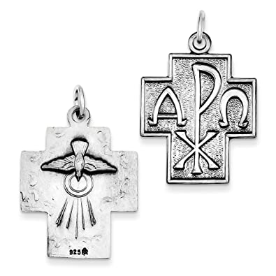 Amazon Sterling Silver Antiqued Alpha Omega Cross Pendant 114