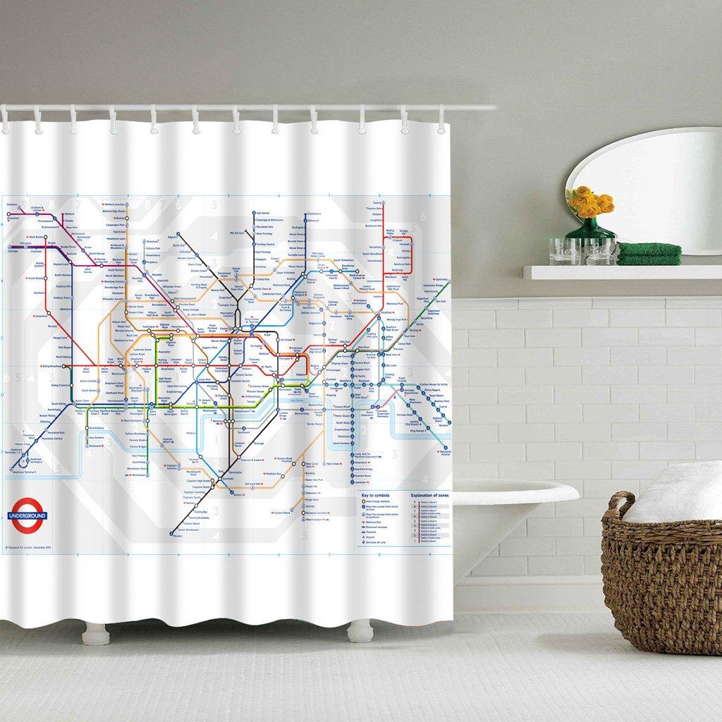 LANDUM Cortina de la Ducha Mapa del Metro de Londres Ba/ño Conjunto de Tela Impermeable 12 Gancho 71 Pulgadas 71Inch/×71Inch