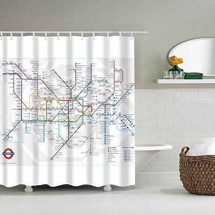 Yumian London Subway Map Bathroom Waterproof Fabric Shower Curtain Set 12 Hook 71 Inch