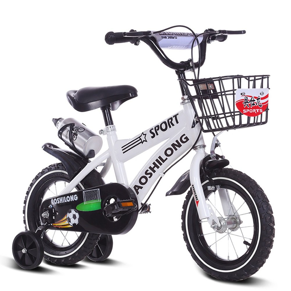 CHS@ 子供用自転車12/14/16/18インチ自転車2-3-5-8歳の男の子と女の子の生徒トレーニングホイール付きのベビーキャリッジ 子ども用自転車 (色 : 白, サイズ さいず : 12