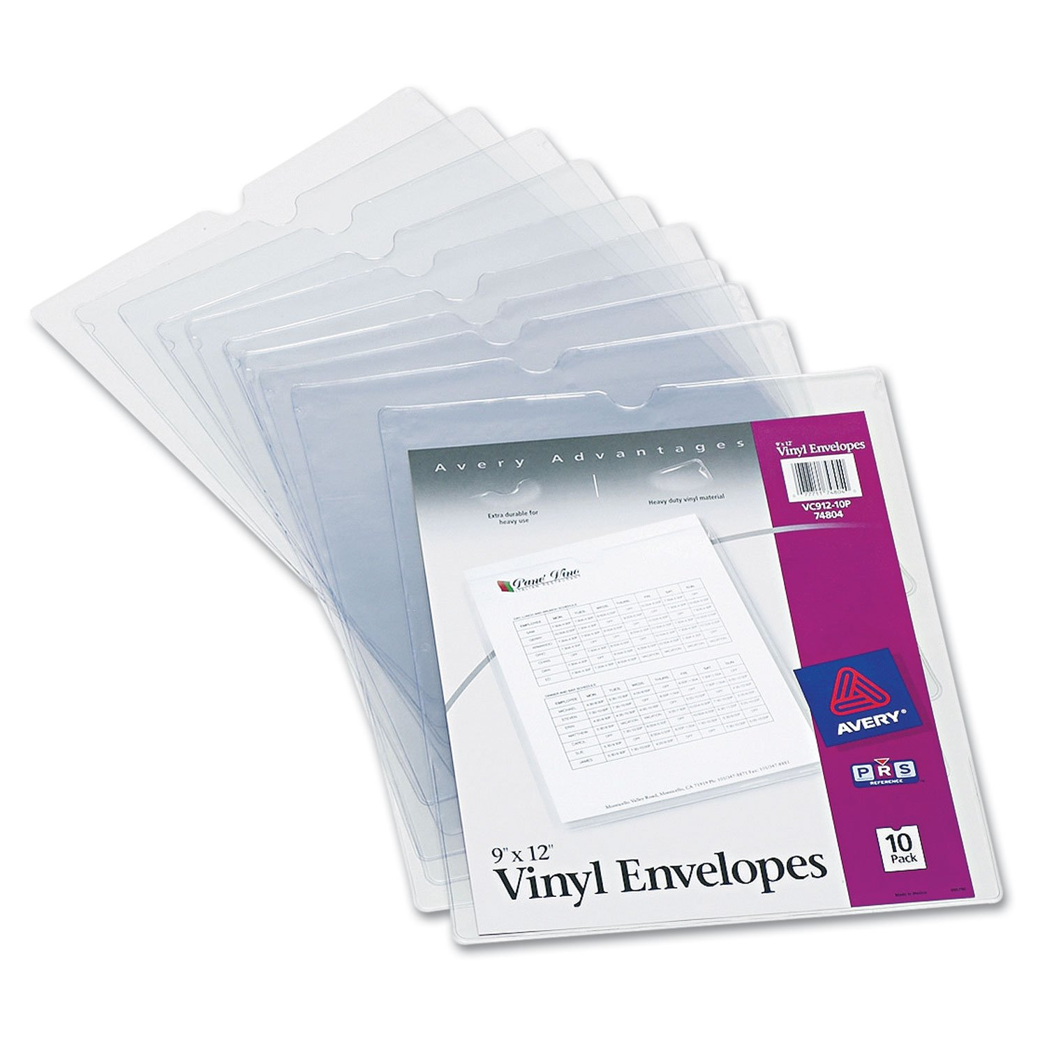 Avery 74804 Top-Load Clear Vinyl Envelopes w/Thumb Notch, 9'' x 12'', Clear, 10/Pack