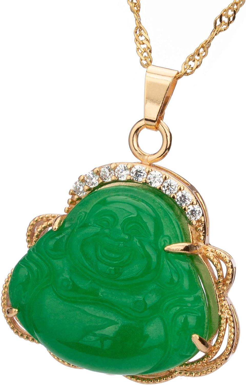 Prime Feng Shui Jade riendo Buda collar con cuentas doradas/cadena de onda de agua, regalo para atraer buena suerte