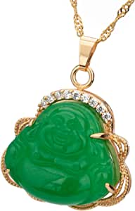Feng Shui Natural Jade Laughing Buddha Pendant Necklace 24K Golden Plated Water Wave 24 inch Chain Amulet Gift Attract Good Luck