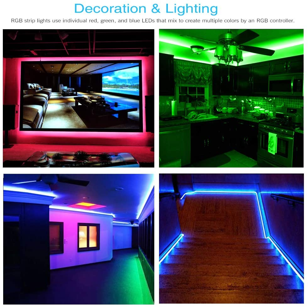 DAYBETTER Led Strip Lights 32.8ft Waterproof Flexible Tape Lights Color Changing 5050 RGB 300 LEDs Light Strips Kit with 44 Keys IR Remote Controller and 12V Power Supply for Home, Bedroom, Kitchen: Home Improvement