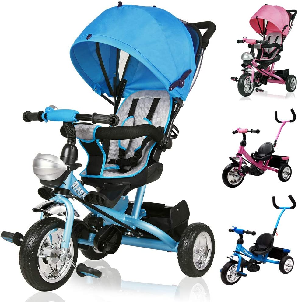 Deuba Tríciclo Infantil Azul niños pequeños y Mayores Carga máxima 30 Kg cesto extraíble Barra en el sillín y de Empuje