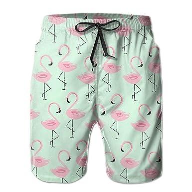 0b6281390f Greenwind Men's Boardshorts Pink Flamingo Quick Dry Board Shorts Beach  Shorts Swimwear Swim Trunks Surfing Suit | Amazon.com