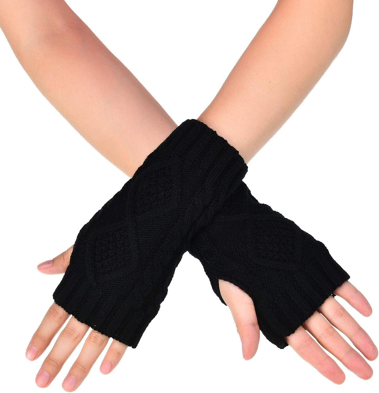 Tatuo 4 Paar Damen H/äkeln Fingerlose Handschuhe Stricken Armstulpen /Ärmel Rhombus Handschuhe Daumen Loch F/äustlinge