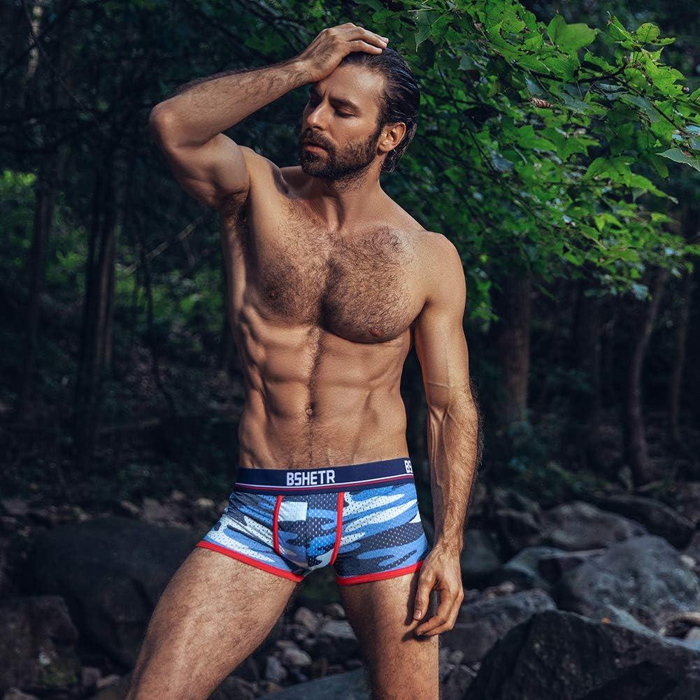 Tama/ño asi/ático Calzoncillos Boxers Hombre Ropa Interior Pack de 3 Camuflaje Red Transpirable Bajo Pantalones Cortos Multi Color Suave