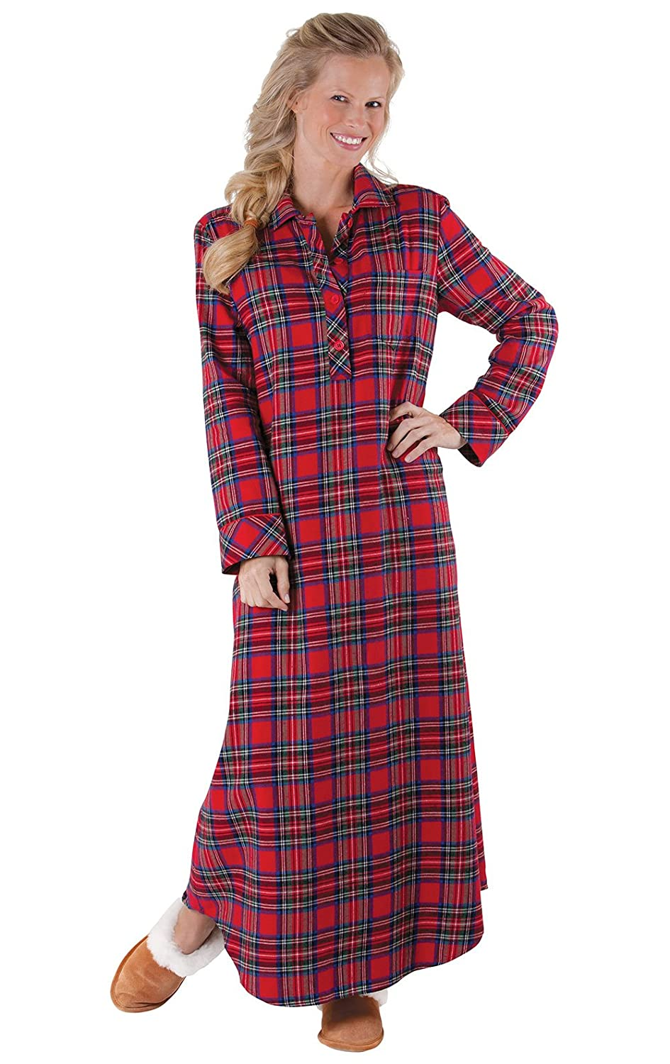 PajamaGram Women's Classic Stewart Plaid Flannel Nightgown, Red