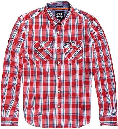 Superdry Camisa Washbasket Rojo Hombre: Amazon.es: Ropa y ...